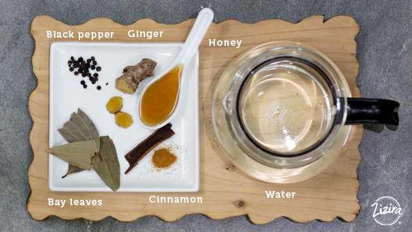 Bay leaves tea with other spices